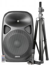 "Vonyx SPS152 Active Speaker 15"""" SD/USB/MP3/BT with Stand"