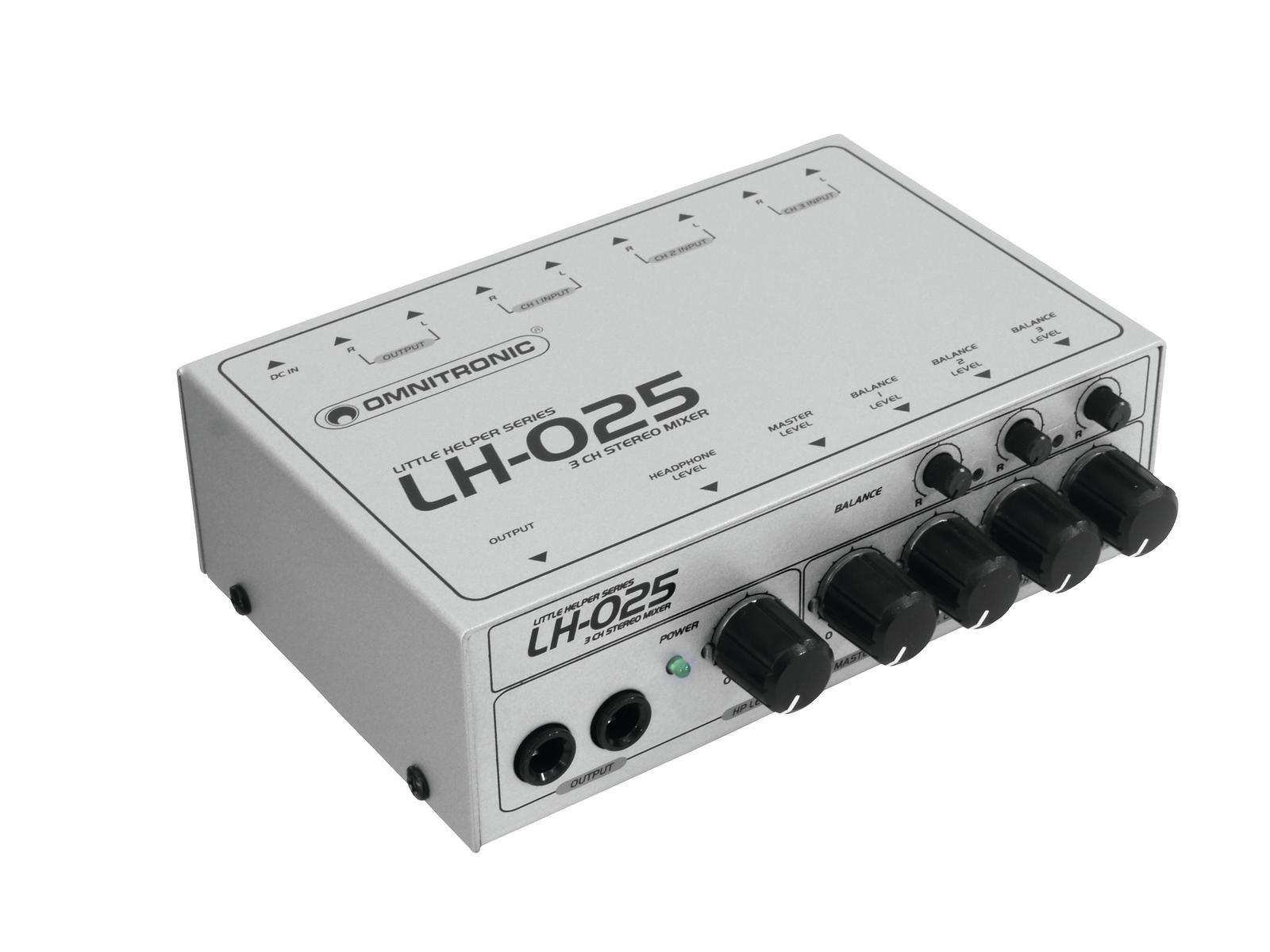 Omnitronic LH-025, mini mixážní pult 3-kanálový