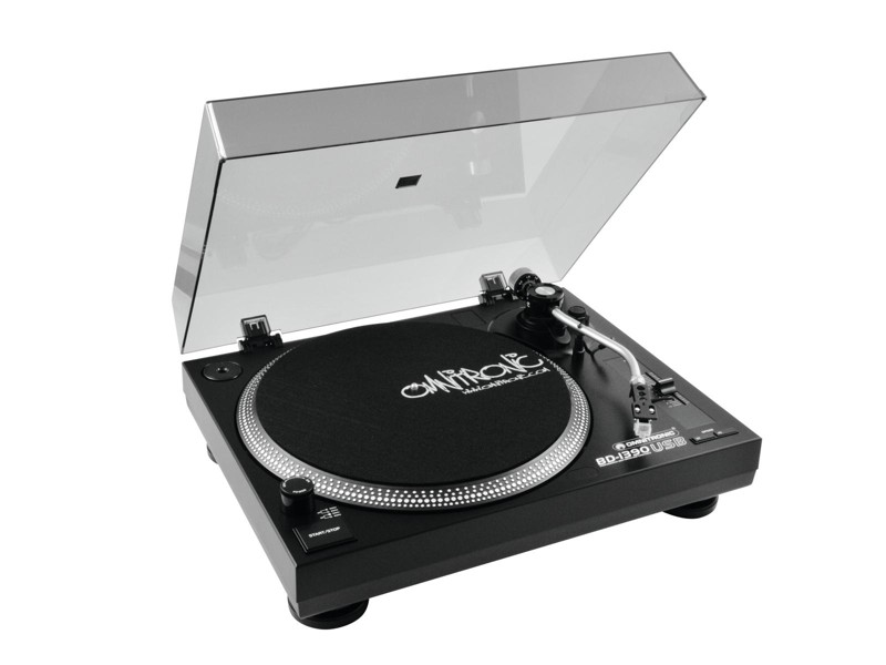 Omnitronic BD-1390, gramofon s řemínkovým pohonem-USB černý