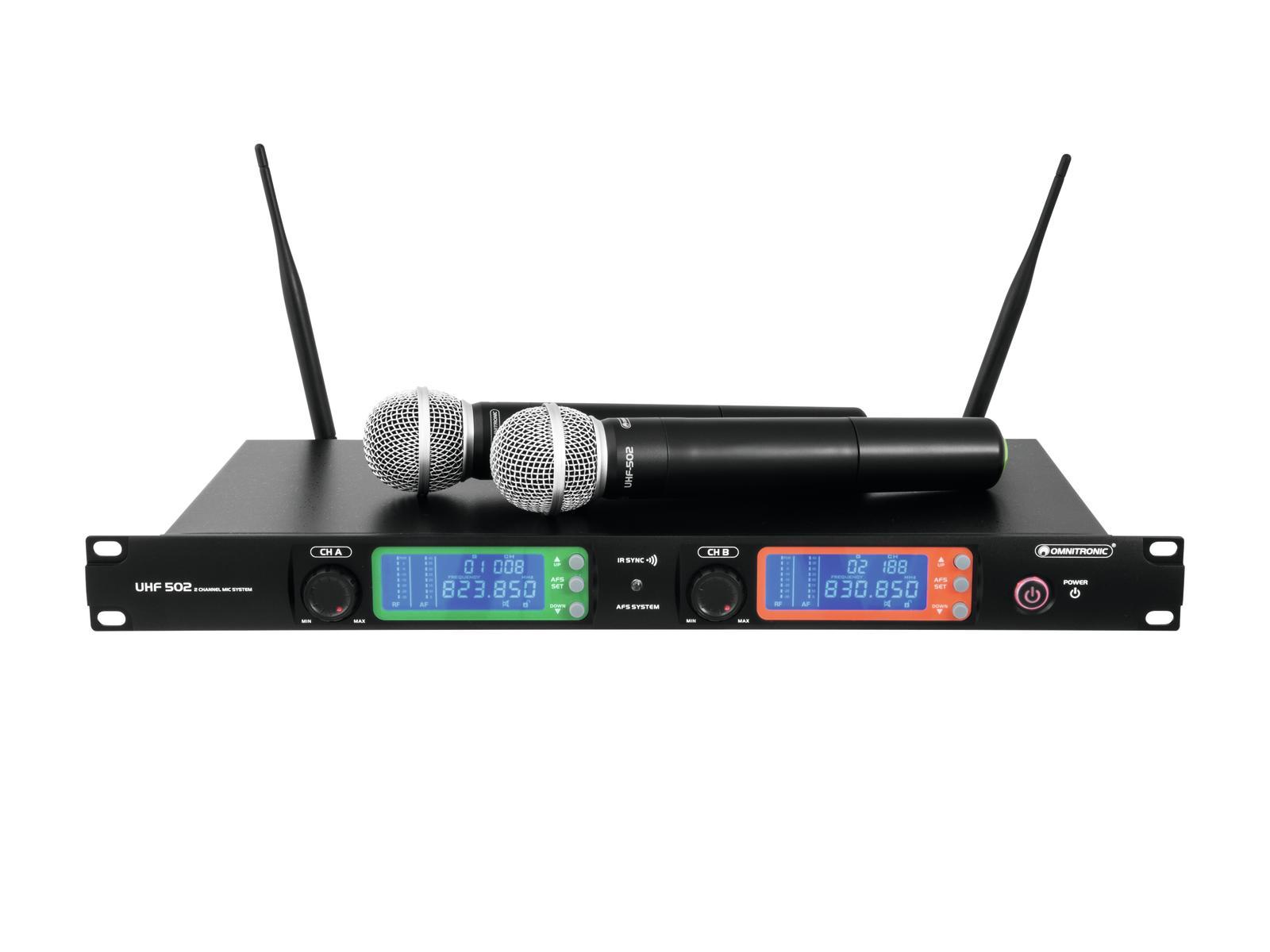 Omnitronic UHF-502 bezdrátový mikr. 2 kanálový, 823-832 MHz