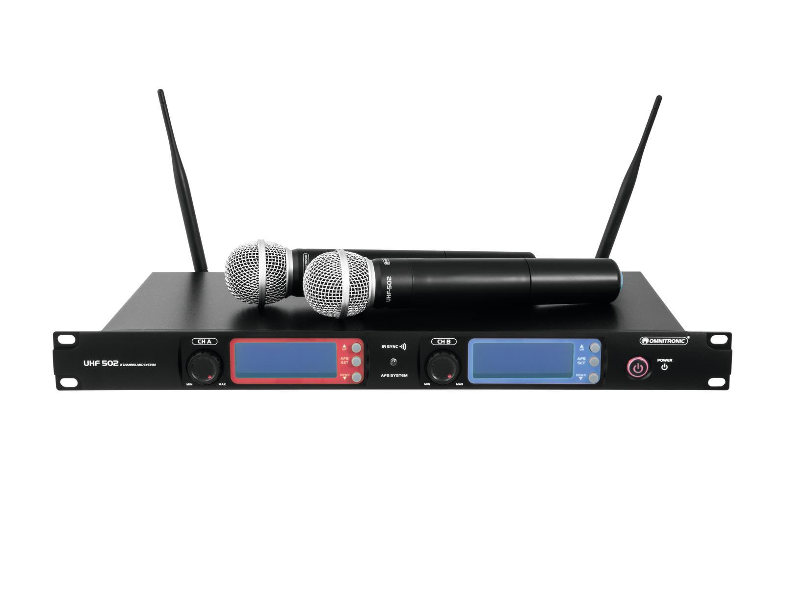 Omnitronic UHF-502, 2-kanálový bezdrátový mikrofonní systém 863-86
