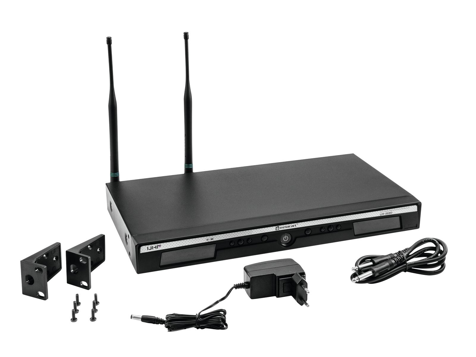 Relacart UR-222D mikrofonní 2-kanálový UHF přijímač