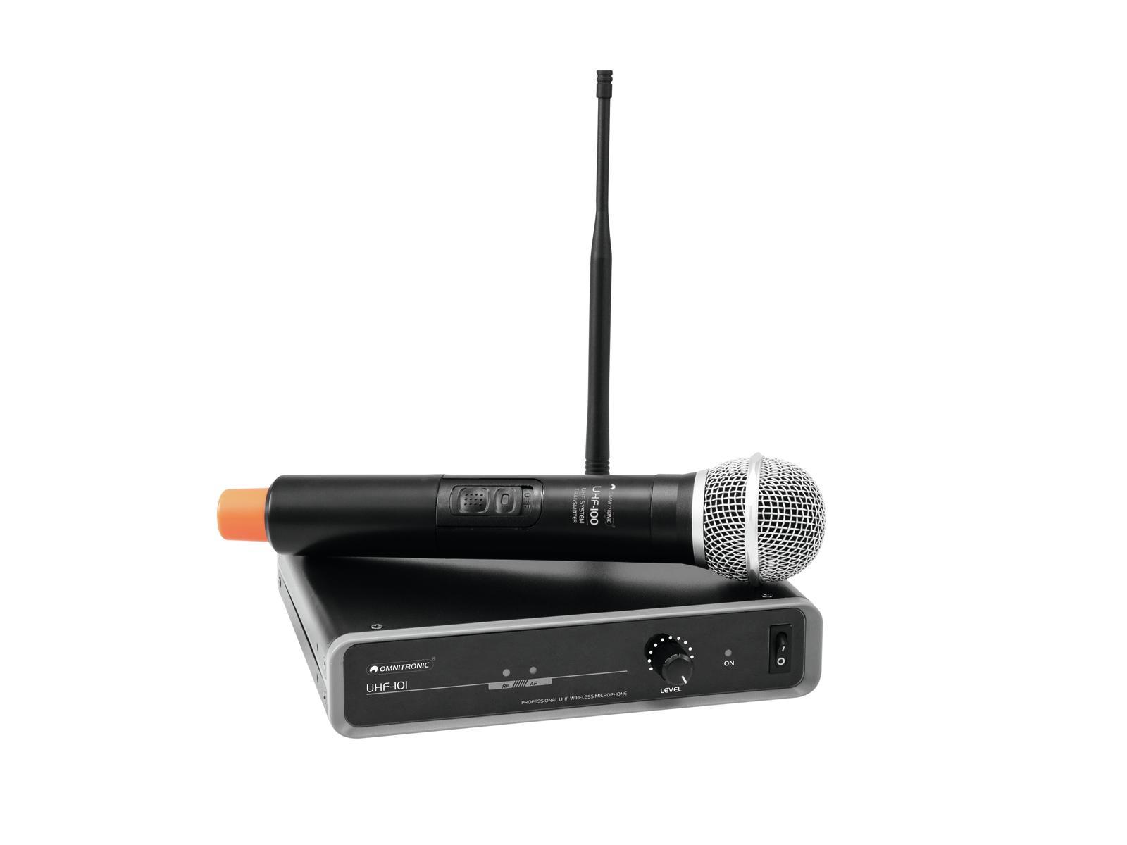 Omnitronic UHF-101, bezdrátový mikrofonní set 1 kanálový, 864.800 MHz
