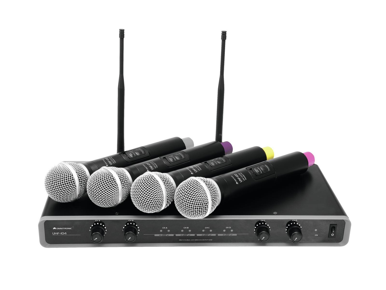 Omnitronic UHF-104, mikrofonní set 4 kanálový, 823.5/825.3/863.1/8