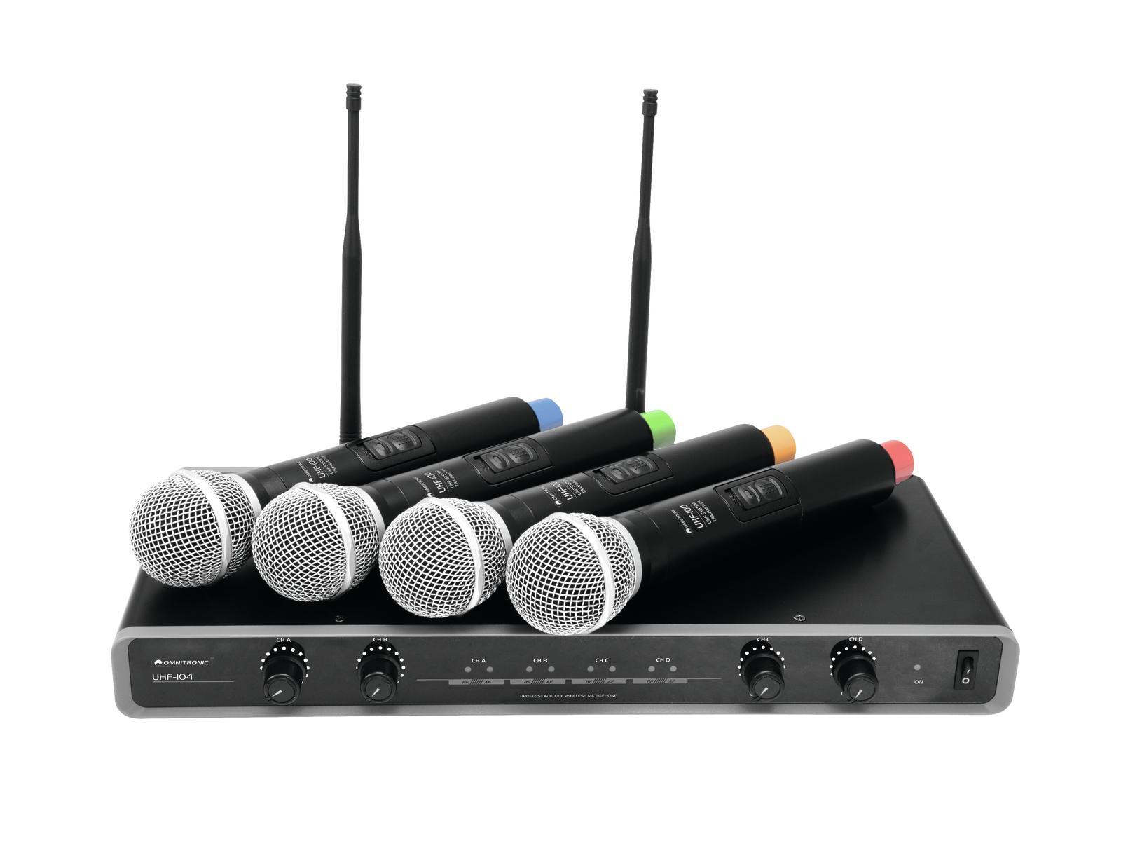 Omnitronic UHF-104, mikrofonní set 4 kanálový, 828.1/830.3/864.8/8