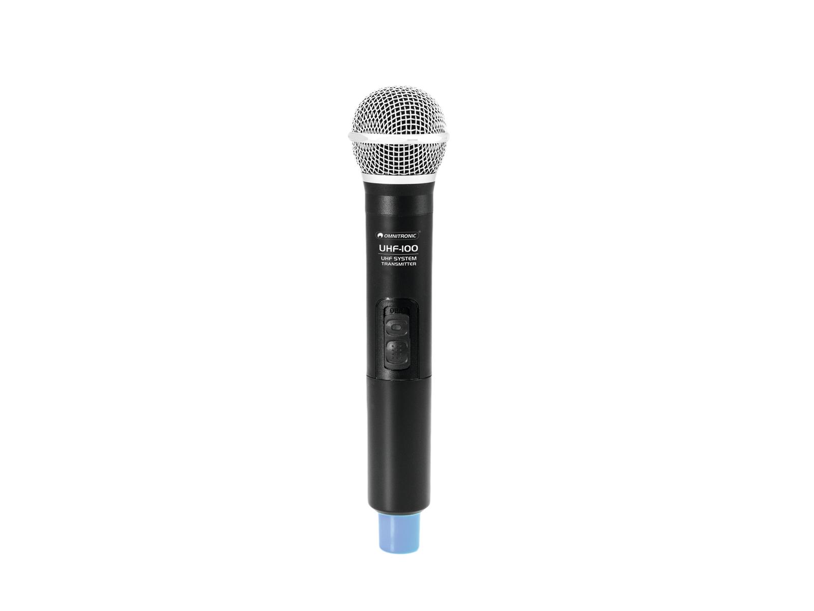Omnitronic UHF-100, ruční bezdrátový mikrofon 863.8MHz, modrý