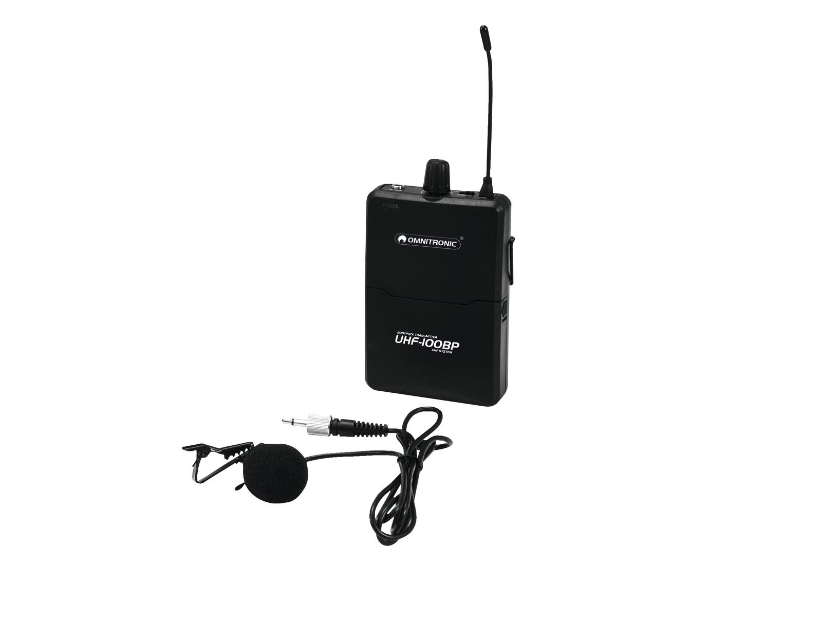 Omnitronic UHF-100 BP, kapesní vysílač 863.8MHz a klopový mikrofon