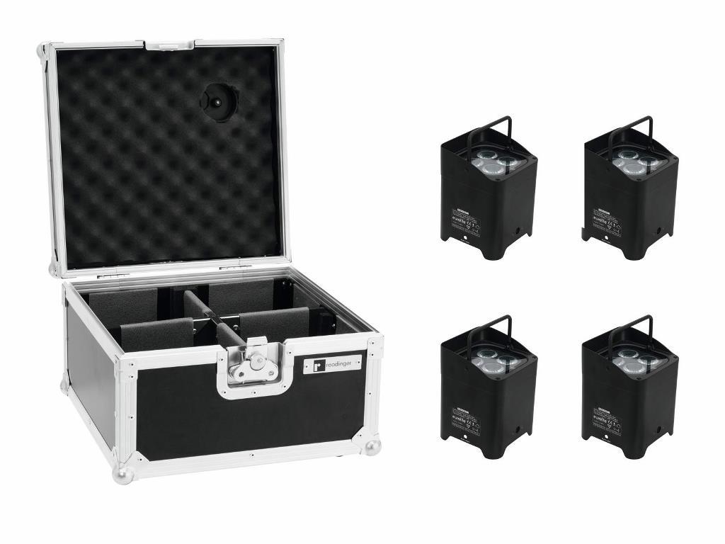 Eurolite Set 4x AKKU UP-4 QCL Spot + Flightcase