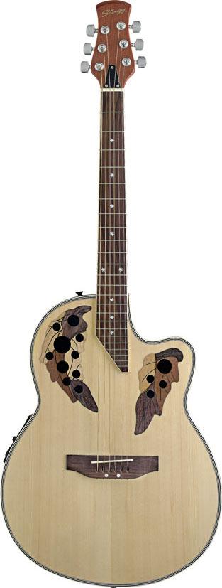 Stagg A2006-N, elektroakustická kytara typu Ovation, přírodní