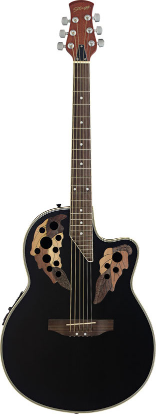 Stagg A2006-BK, elektroakustická kytara typu Ovation, černá