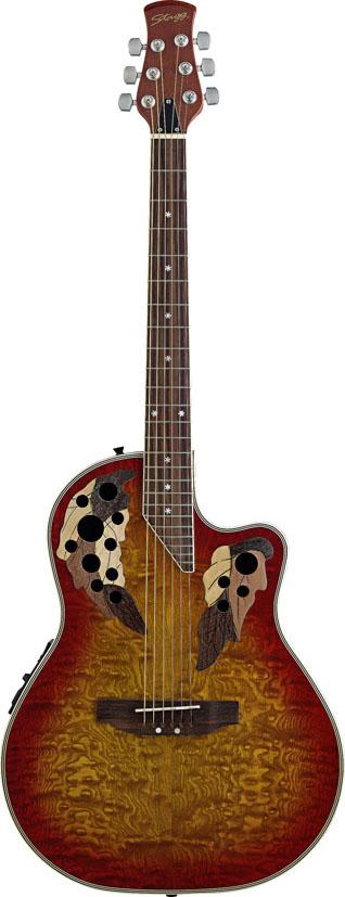 Stagg A2006-CS, elektroakustická kytara typu Ovation, stínovaná Cherry