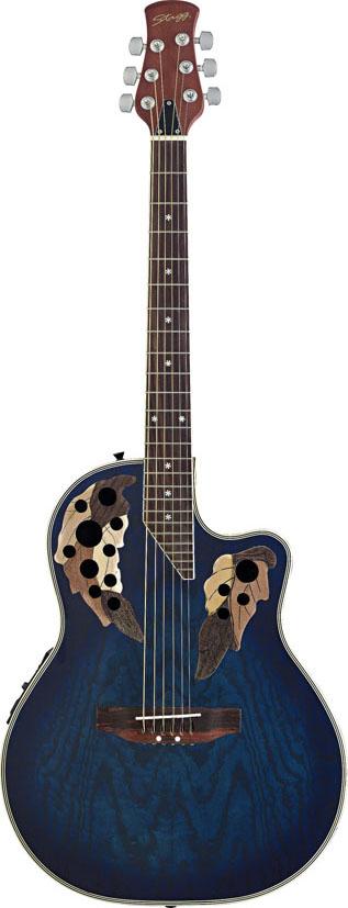 Stagg A2006-BLS, elektroakustická kytara typu Ovation, stínovaná modrá