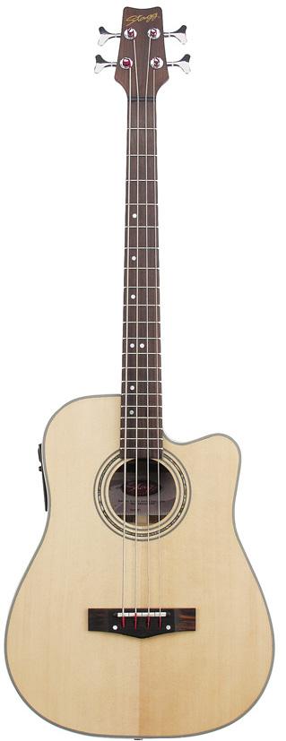 Stagg AB203CE-NS, elektroakustická baskytara, přírodní