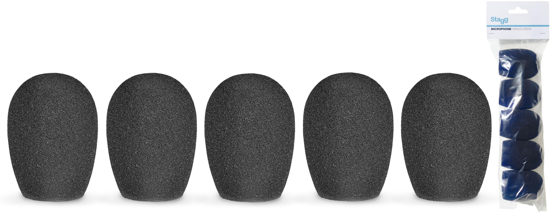 Stagg WS-S25/B5, kryty mikrofonní černé, sada 5 ks