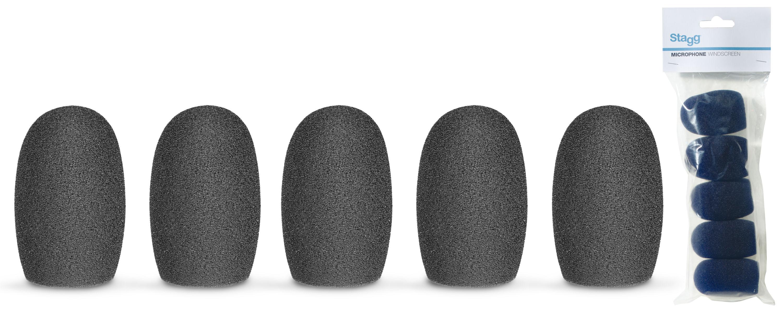 Stagg WS-S20/B5, kryty mikrofonní černé, sada 5 ks