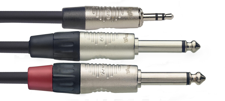 Stagg NYC3/MPS2PR, kabel 2x JACK mono/1x mini JACK stereo, 3m