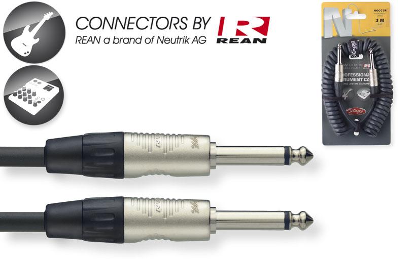 Stagg NGCC3R, kabel JACK/JACK, 3m