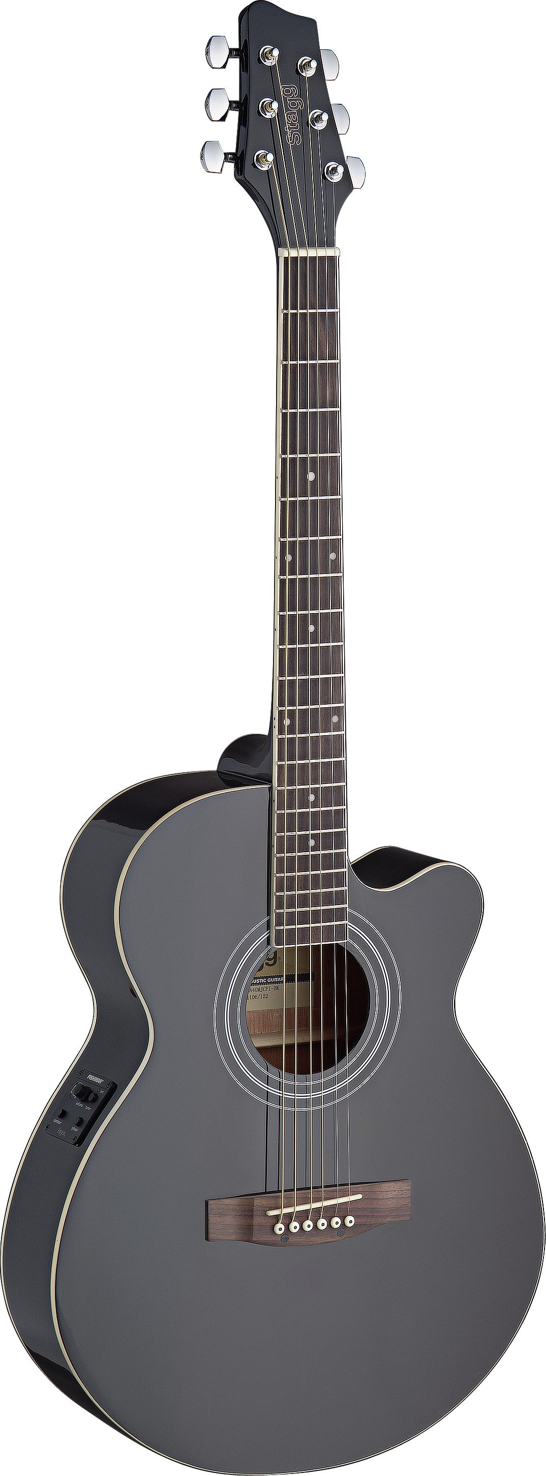Stagg SA40MJCFI-BK, elektroakustická kytara typu Mini Jumbo, černá
