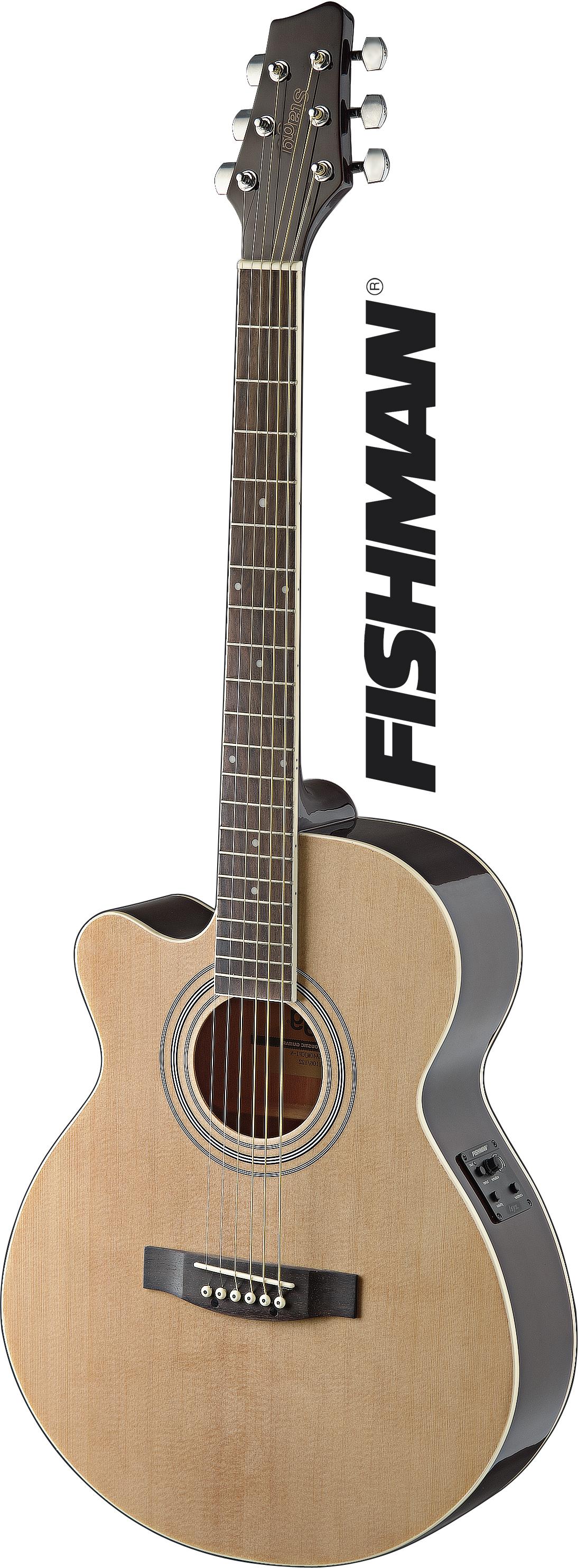 Stagg SA40MJCFI-LH N, elektroakustická kytara typu Mini Jumbo, levoruká