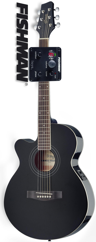 Stagg SA40MJCFI-LH BK, elektroakustická kytara typu Mini Jumbo, levoruká