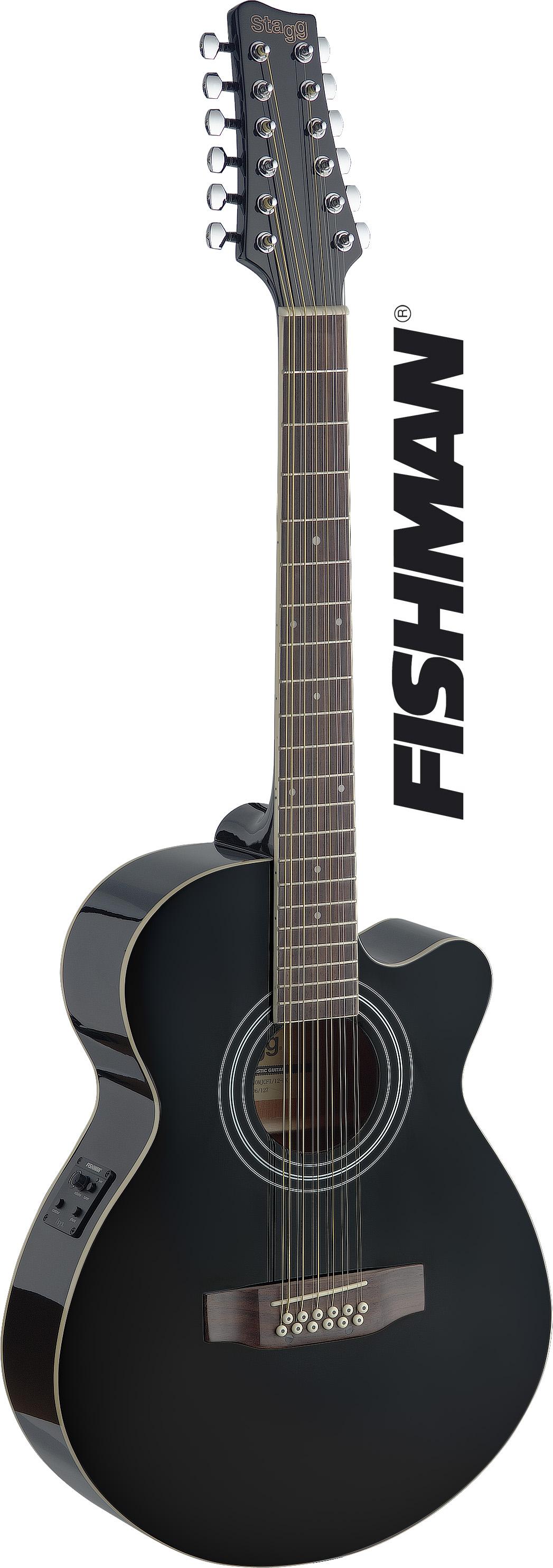 Stagg SA40MJCFI/12-BK, elektroakustická kytara typu Mini Jumbo, dvanáctistrunná