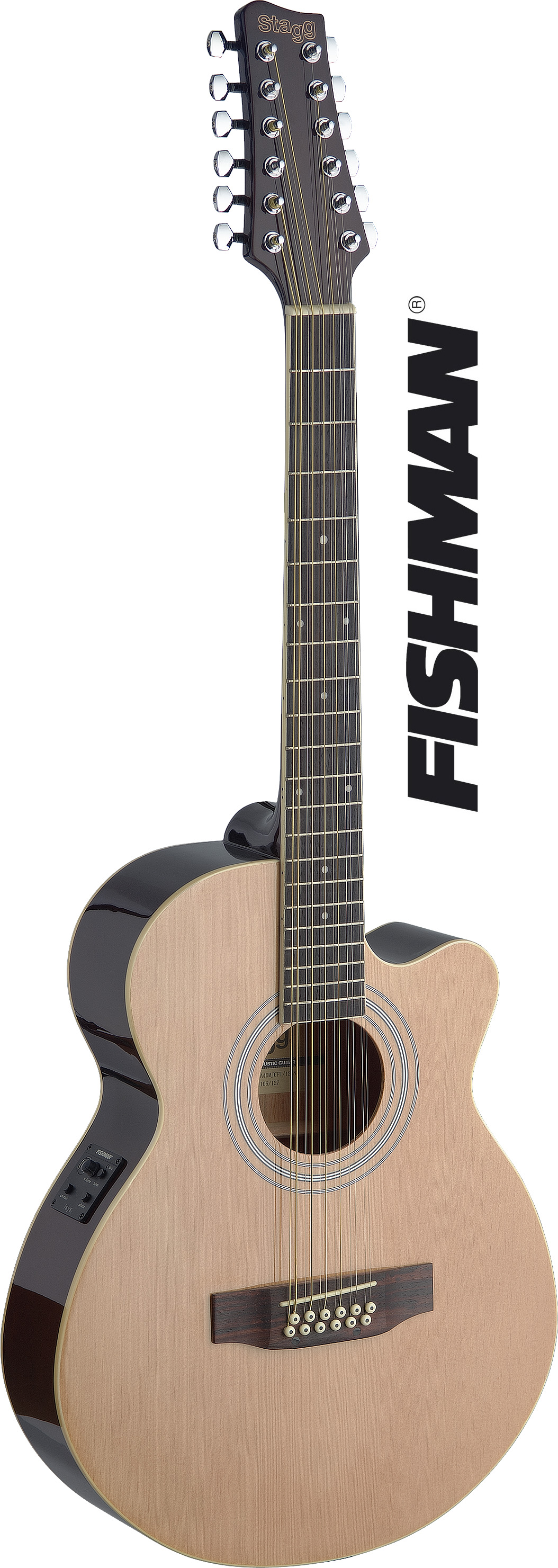 Stagg SA40MJCFI/12-N, elektroakustická kytara typu Mini Jumbo, dvanáctistrunná