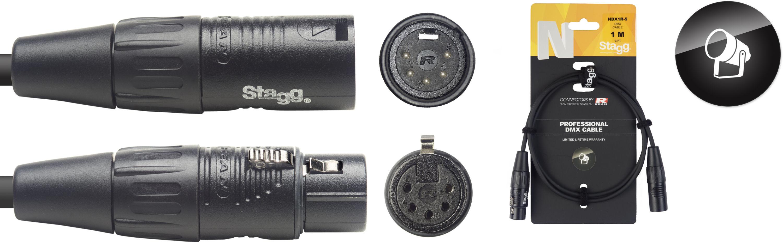 Stagg NDX1R-5, DMX kabel, 5pin XLR, 110 Ohm, délka 1m