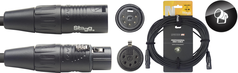 Stagg NDX15R-5, DMX kabel, 5pin XLR, 110 Ohm, délka 15m