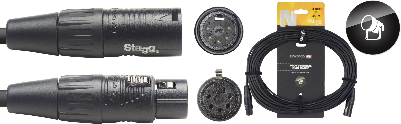 Stagg NDX20R-5, DMX kabel, 5pin XLR, 110 Ohm, délka 20m