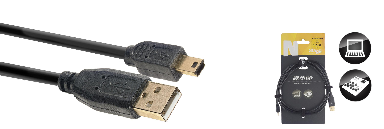 Stagg NCC1,5UAUNB, kabel USB 2.0 USB/MINI USB, 1,5m