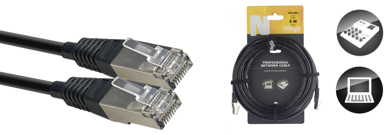 Stagg NCC5RJ, síťový kabel RJ45/RJ45, 5m