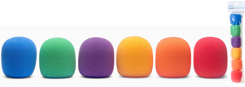 Stagg WS-S35/C6, kryty mikrofonní barevné, sada 6 ks