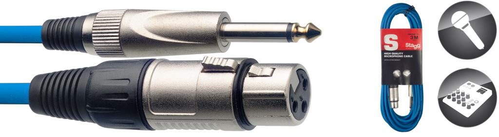 Stagg SMC3XP CBL, kabel mikrofonní XLR/Jack, 3m, modrý