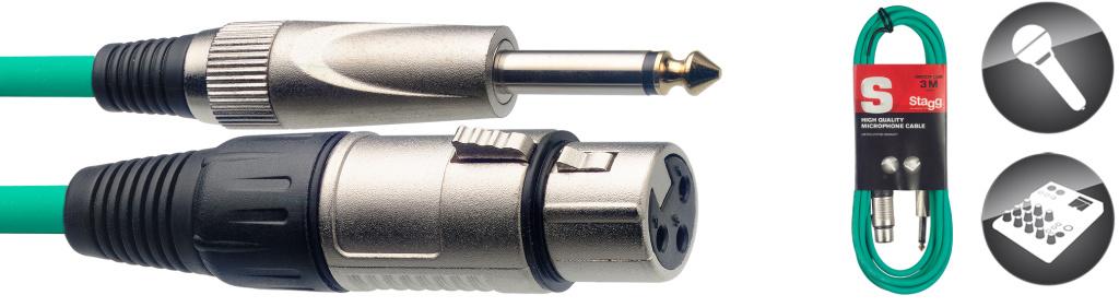 Stagg SMC3XP CGR, kabel mikrofonní XLR/Jack, 3m, zelený