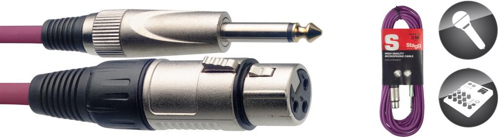 Stagg SMC3XP CPP, kabel mikrofonní XLR/Jack, 3m, fialový