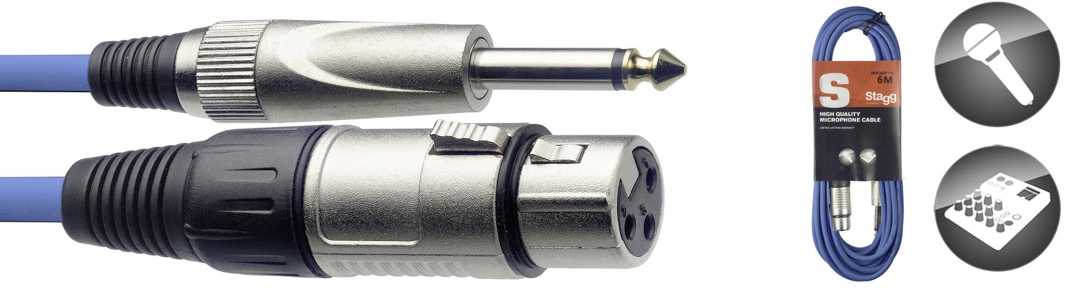 Stagg SMC6XP CBL, kabel mikrofonní XLR/Jack, 6m, modrý