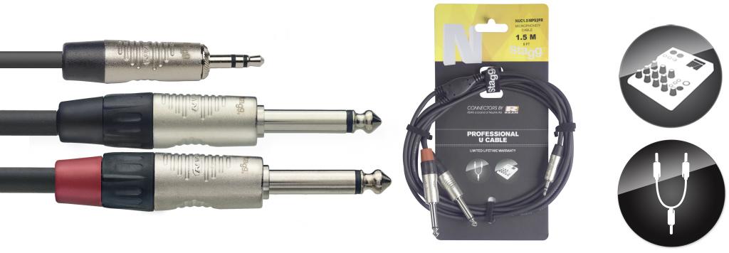 Stagg NUC1.5/MPS2PR, kabel Jack 3,5 mm stereo - 2x Jack 6,3 mm mono, 1,5m
