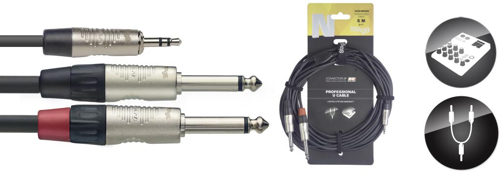 Stagg NUC6/MPS2PR, kabel Jack 3,5 mm stereo - 2x Jack 6,3 mm mono, 6m