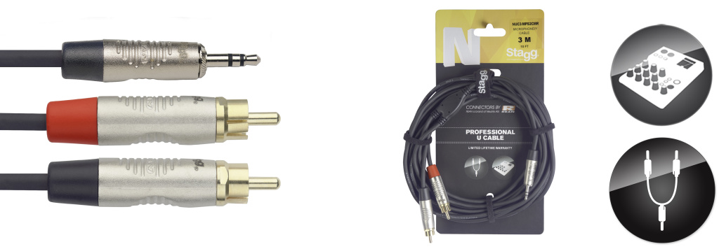 Stagg NUC3/MPS2CMR, kabel Jack 3,5 mm stereo - 2x RCA, 3m
