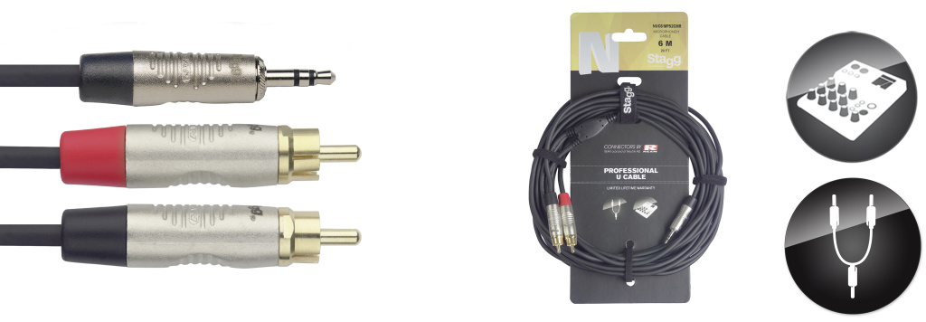 Stagg NUC6/MPS2CMR, kabel Jack 3,5 mm stereo - 2x RCA, 6m