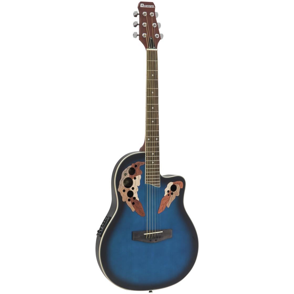 Dimavery OV-500, kytara elektroakustická typu Ovation, stínovaná modrá