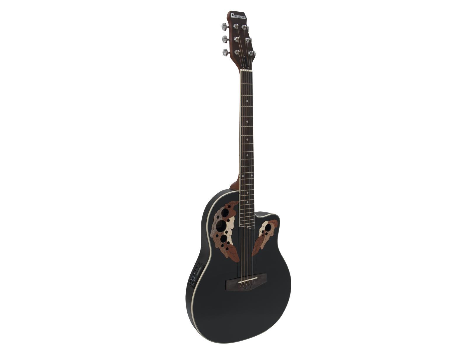 Dimavery OV-500, kytara elektroakustická typu Ovation, černá