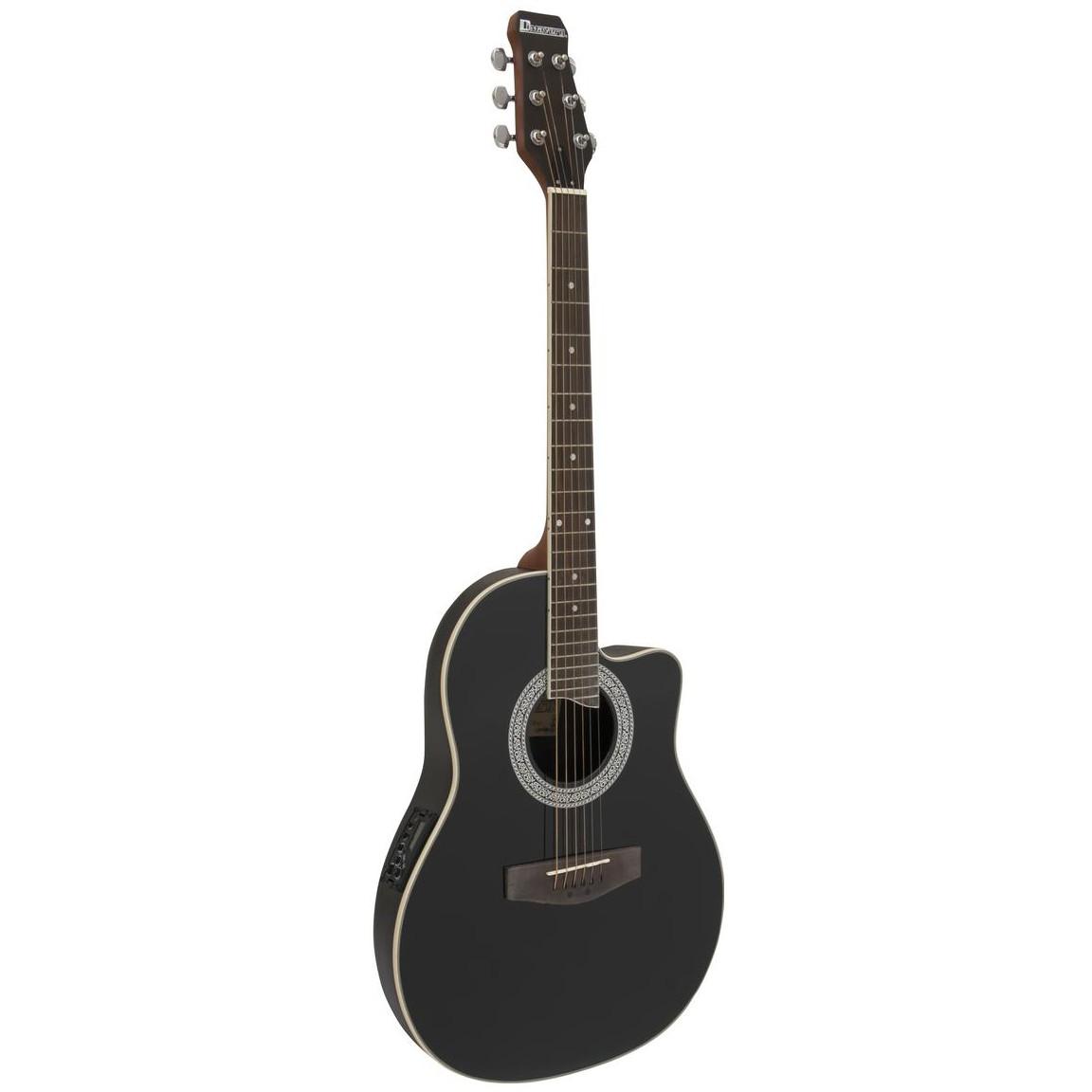Dimavery RB-300, kytara elektroakustická typu Ovation, černá