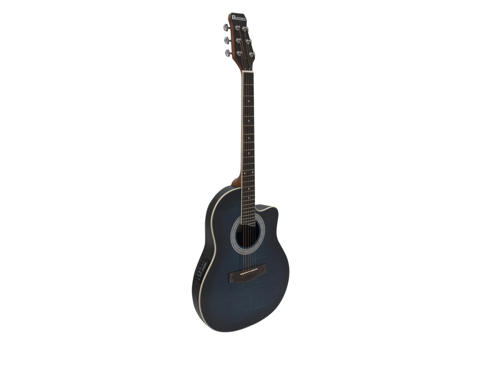 Dimavery RB-300, kytara elektroakustická typu Ovation, modrá