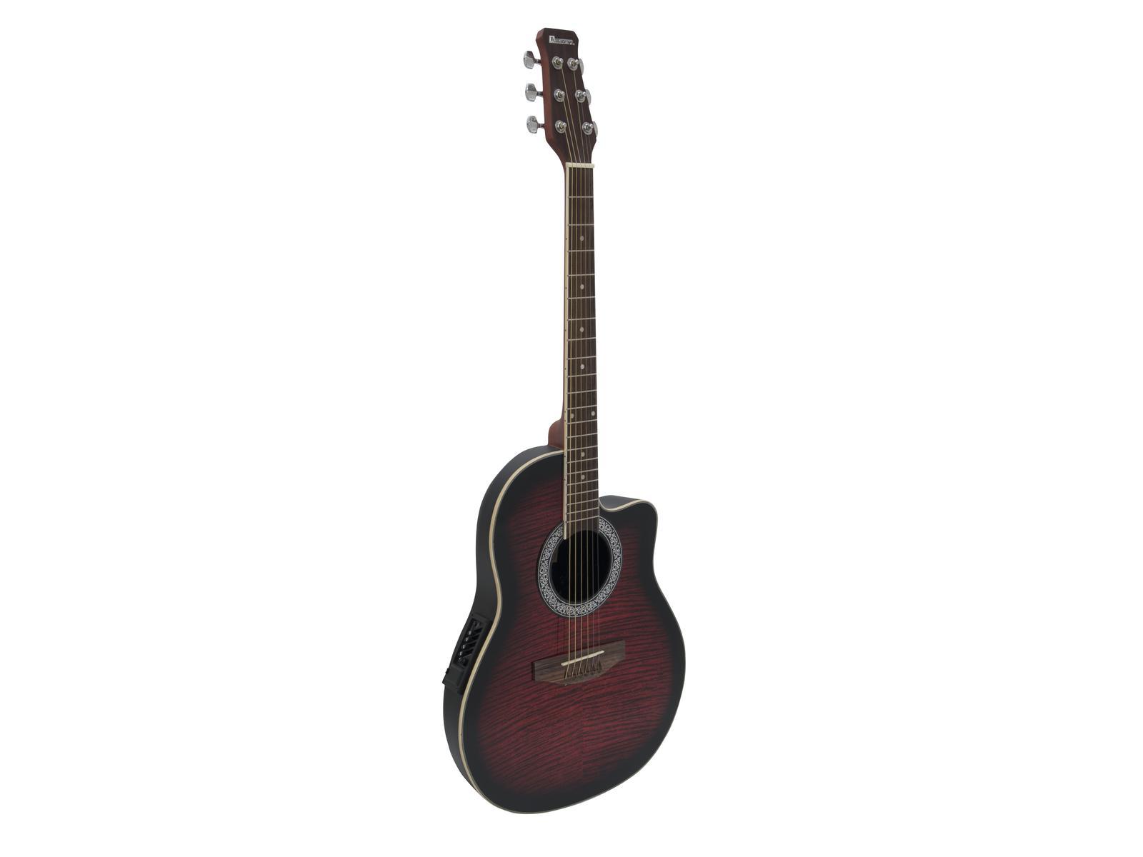 Dimavery RB-300, elektroakustická kytara typu Ovation, stínovaná červená