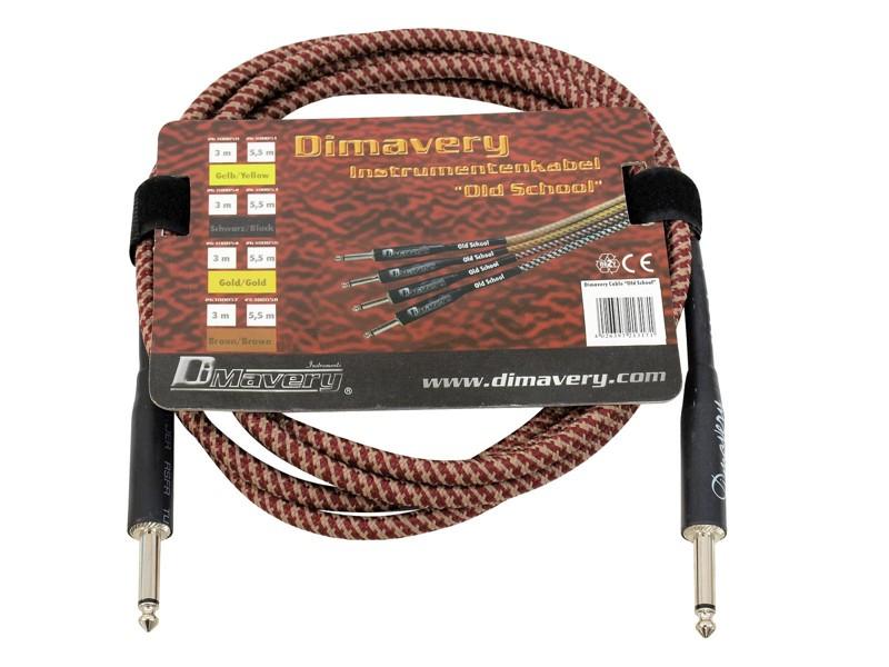 Dimavery nástrojový kabel Jack - Jack, 3m, hnědo-červený