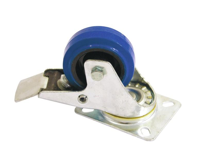 Otočná kolečka Blue Wheel s brzdou, 80 mm