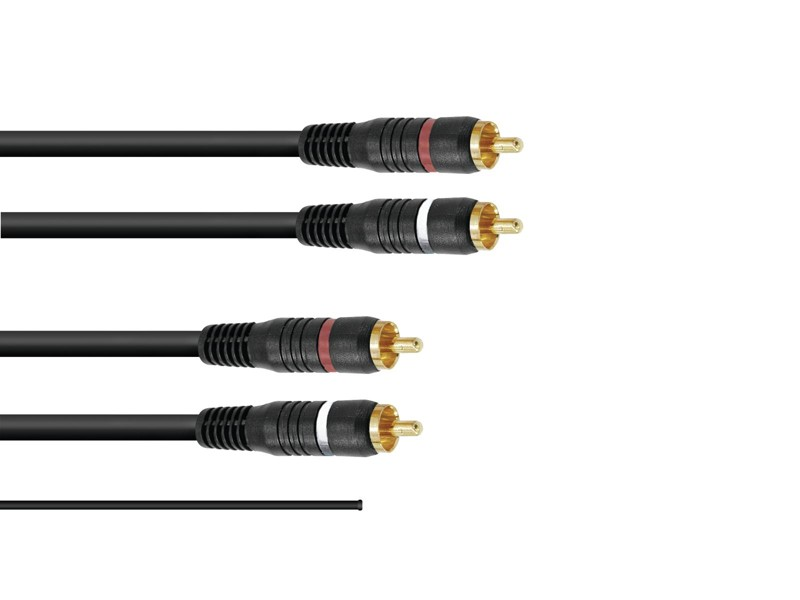 Kabel 2x 2 Cinch zástrčky, červená/černá, se zemí, 1,5m
