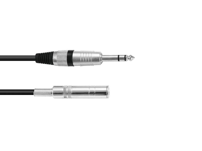 Kabel KE-60 2x Jack 6,3 stereo, samec/samice 6 m