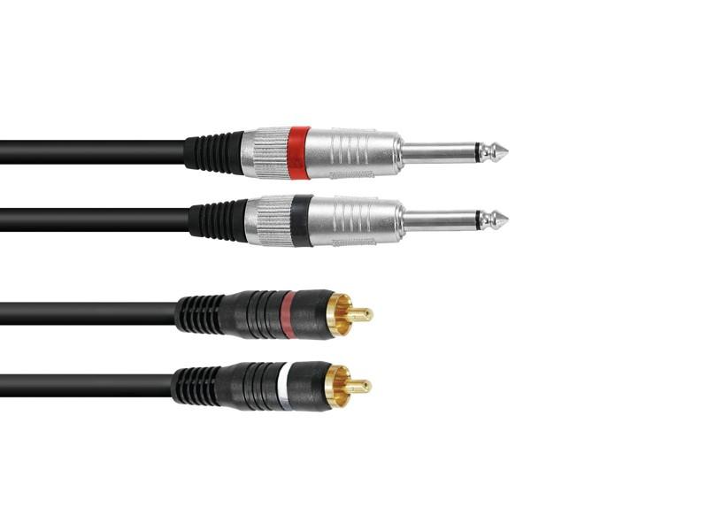Kabel KC2-10 2x Jack 6,3 mono - 2x RCA, 1 m